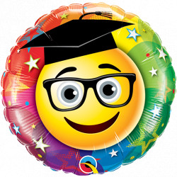 "SMILEY GRADUATE 9"" INFLATED WITH CUP & STICK"