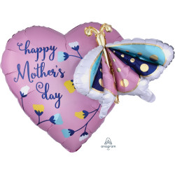 "BUTTERFLY & HEART MOTHER'S DAY MULTI-BALLOON P45 PKT (26"" x 24"")"