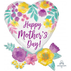 """WATERCOLOUR FLOWERS HAPPY MOTHER'S DAY SHAPE P35 PKT (23"""" x 30"""")"""