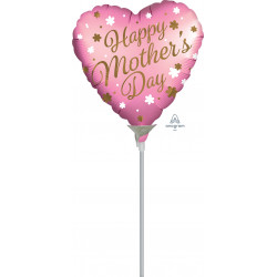 "HAPPY SATIN MOTHER'S DAY 9"" A15 INFLATED WITH CUP & STICK"
