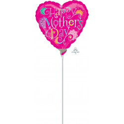 "DOODLE HAPPY MOTHER'S DAY 9"" A15 INFLATED WITH CUP & STICK"