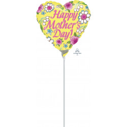 "YELLOW HAPPY MOTHER'S DAY 9"" A15 INFLATED WITH CUP & STICK"