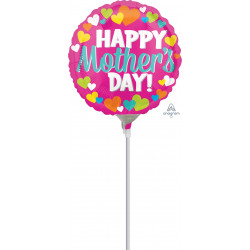 "HAPPY MOTHER'S DAY HEARTS 9"" A15 INFLATED WITH CUP & STICK"