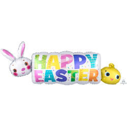 "HAPPY EASTER BANNER SHAPE P35 PKT (44"" x 16"")"