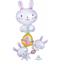 "BUNNY STACKER EASTER MULTI BALLOON P70 PKT (35"" x 61"")"