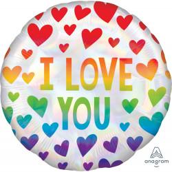 RAINBOW HEARTS I LOVE YOU STANDARD S40 PKT