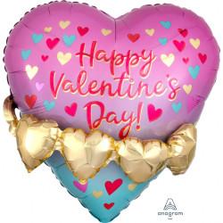 "GOLD HEART GARLAND HAPPY VALENTINE'S DAY MULTI BALLOON SHAPE P45 PKT (21"" x 21"")"