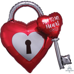 "KEY TO MY HEART MULTI BALLOON SHAPE P45 PKT (30"" x 32"")"