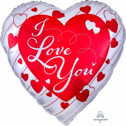 "RED HEART & SILVER STRIPES I LOVE YOU JUMBO P32 PKT (28"" x 28"")"
