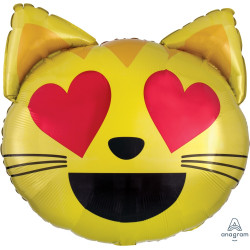"EMOTICON CAT LOVE SHAPE P35 PKT (22"" x 22"")"