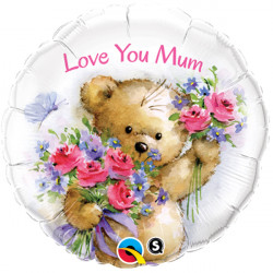 "LOVE YOU MUM TEDDY BEAR 18"" PKT"