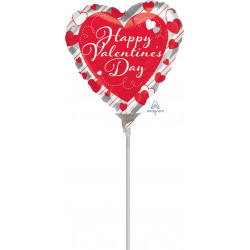 """RED HEART SILVER STRIPES VALENTINE'S DAY  4"""" A10 FLAT"""