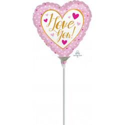 """PINK & GOLD I LOVE YOU 9"""" A15 FLAT"""