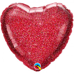"RED GLITTERGRAPHIC HEART 18"" FLAT Q GM"