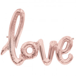 "LOVE SCRIPT ROSE GOLD 40"" AIRFILLED SHAPE S1-01 PKT"