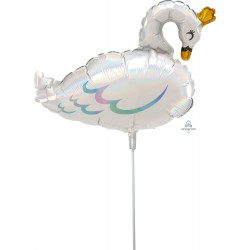 SWAN PASTEL IRIDESCENT MINI SHAPE A30 INFLATED WITH CUP & STICK