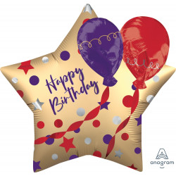 "BALLOON SATIN BIRTHDAY SHAPE P60 PKT (28"" x 28"")"