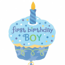 CUPCAKE FIRST BIRTHDAY BOY SHAPE P35 PKT SALE