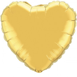 "GOLD HEART 9"" INFLATED Q GY"