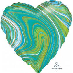 BLUE GREEN MARBLEZ HEART STANDARD S18 FLAT A