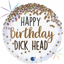 "DICK HEAD HAPPY BIRTHDAY 18"" HOLOGRAPHIC PKT"