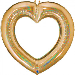 "GOLD GLITTER LINKY HEART 41"" GRABO PKT"