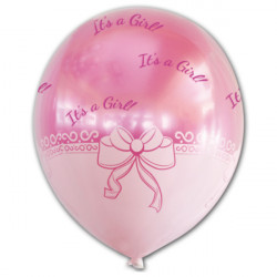"RIBBON PATTERN FOIL BALLOON WITH 14"" ITS A GIRL PINK LATEX INSIDE"