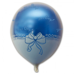 "RIBBON PATTERN FOIL BALLOON WITH 14"" ITS A BOY BLUE LATEX INSIDE"