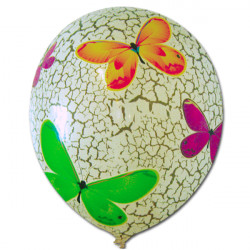 "BUTTERFLY PATTERN FOIL BALLOON WITH 14"" WHITE LATEX INSIDE"
