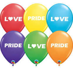 "* PRIDE LOVE 11"" RAINBOW ASSORTED (25CT) YGX 2 SIDED"
