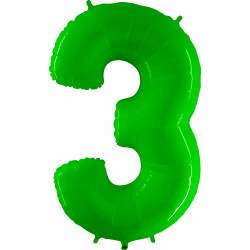 "LIME GREEN SHINY NUMBER 3 SHAPE 40"" PKT"