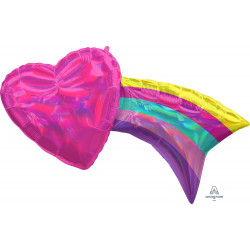 "IRIDESCENT HEART WITH RAINBOW SHAPE P40 PKT (33"" x 18"")"