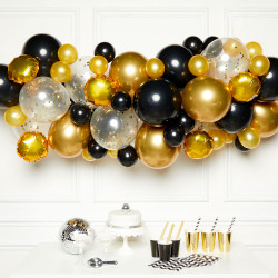 BLACK, GOLD & SILVER  DIY GARLAND BALLOON KIT (CONTAINS 66 BALLOONS)
