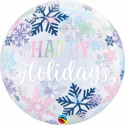 "HAPPY HOLIDAYS SNOWFLAKES 22"" SINGLE BUBBLE YRV"