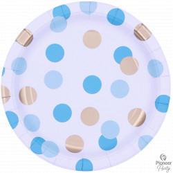 BLUE & GOLD DOTS PAPER PLATES LARGE 23CM 8CT (YFQ)