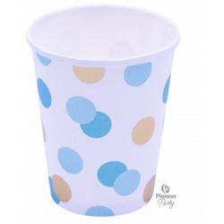 BLUE & GOLD DOTS PAPER CUPS 250ML 8CT (YFN)