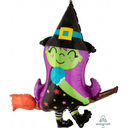 "CUTE WITCH ON BROOM SHAPE P35 PKT (34"" x 38"")"