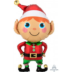 "HAPPY CHRISTMAS ELF SHAPE P35 PKT (22"" x 35"")"