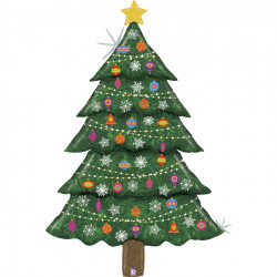 "CHRISTMAS TREE HOLOGRAPHIC 60"" SPECIAL DELIVERY SHAPE PKT"