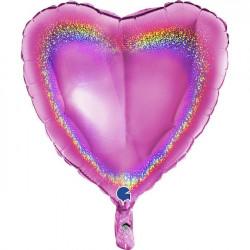 """FUCHSIA GLITTER HOLOGRAPHIC HEART 18"""" PKT"""