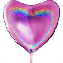 """FUCHSIA GLITTER HOLOGRAPHIC HEART 36"""" PKT"""