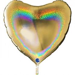 "GOLD GLITTER HOLOGRAPHIC HEART 36"" PKT"