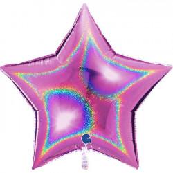 """FUCHSIA GLITTER HOLOGRAPHIC STAR 36"""" PKT"""