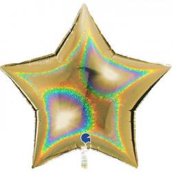 "GOLD GLITTER HOLOGRAPHIC STAR 36"" PKT"