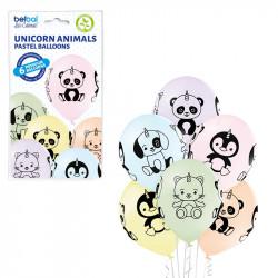 "UNICORN ANIMALS 12"" PASTEL I/BLUE, L/BREEZE, S/PINK, P/CREAM, K/GREEN & LEMON 6CT"