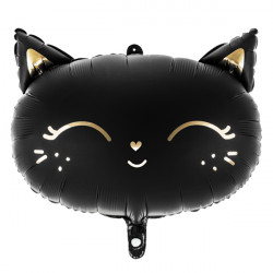 BLACK CAT HEAD SHAPE 48cm X 36cm PKT