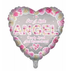 "ANGEL PINK REMEMBRANCE 18"" HEART PKT"