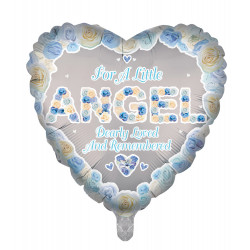 "ANGEL BLUE REMEMBRANCE 18"" HEART PKT"