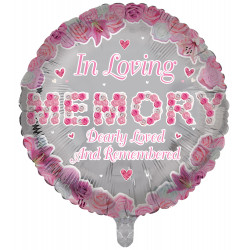 "IN LOVING MEMORY PINK REMEMBRANCE 18"" ROUND PKT"