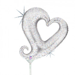 """CHAIN OF HEARTS SILVER 14"""" HOLOGRAPHIC LINKY MINI SHAPE FLAT"""